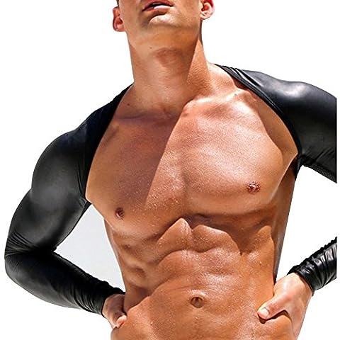 IGIG Men's Long Sleeve Openwork Jacket Faux Leather Mesh Arm Shrug T-shirt Costumes Medium (Harness Gay)