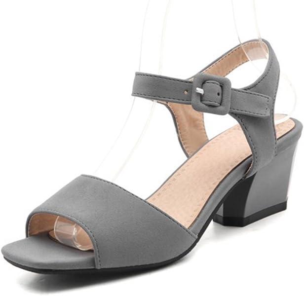cc7aa4b58985f9 Aisun Women s Simple Open Toe Buckle Ankle Strap Dress Block Medium Heels Sandals  Shoes (Gray