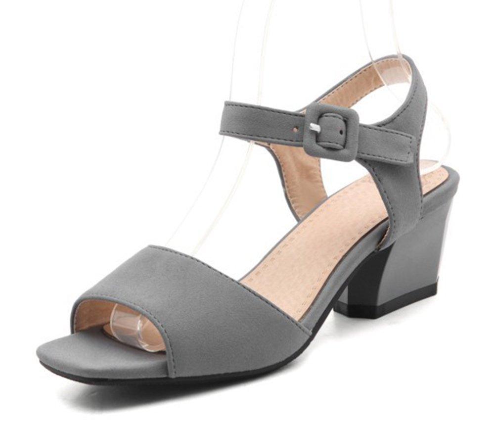 Aisun Women's Simple Open Toe Buckle Ankle Strap Dress Block Medium Heels Sandals Shoes (Gray, 10 B(M) US)