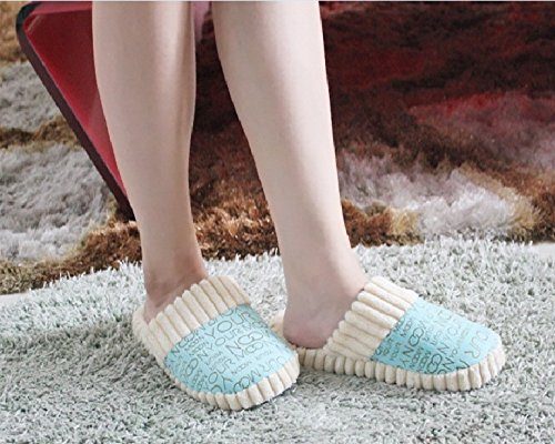 Maybest Winter Men & Women Slippers Lover Fashion Warm Cotton-Padded Floor Slippers Home Supplies Blue nH9aFP1c1