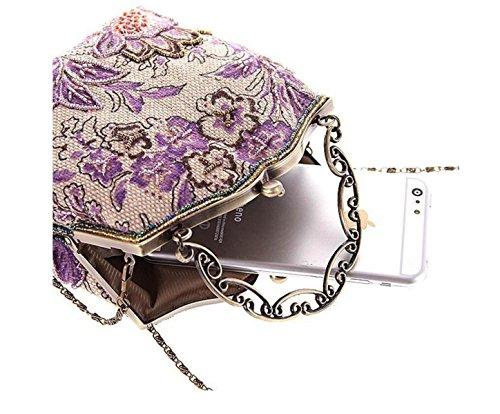 GSHGA Bolsos De Embrague De Las Mujeres Bolso Del Bordado Del Grano Paquete De Handcraft Bolso Moldeado Del Banquete Del Bolso Del Banquete,Red Purple