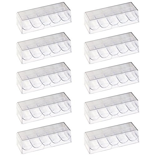 GSE Games & Sports Expert 100 Piece Clear Acrylic Poker Chip Rack with Cover/Casino Chip Tray with Lid (10 Pack)