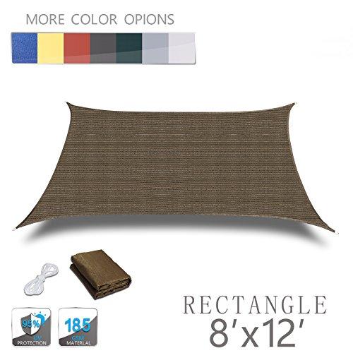 Love Story 8 x 12 Rectangle Brown UV Block Sun Shade Sail Perfect for Outdoor Patio Garden