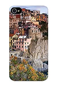 Fireingrass Iphone 4/4s Well-designed Hard Case Cover Water Architecture Houses Italy Villages Cinque Terre Manarola Sea Protector For New Year's Gift Kimberly Kurzendoerfer