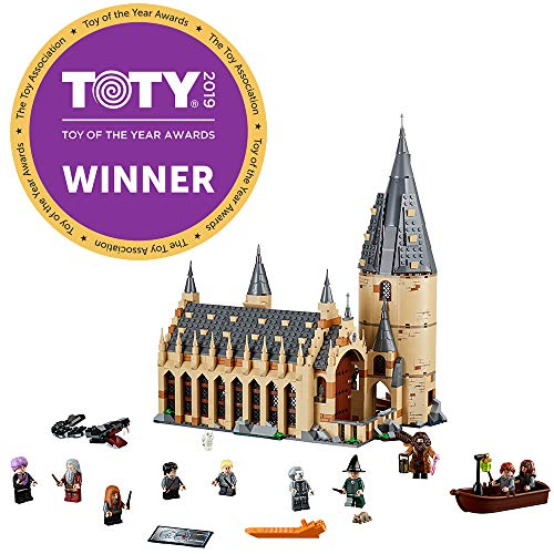 LEGO Harry Potter Hogwarts Great Hall 75954 Building Kit and Magic Castle Toy, Fantasy Creatures, Hermione Granger, Draco Malfoy and Hagrid (878 Piece)]()