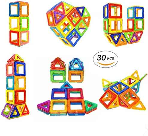 Soyee Magnetic Blocks STEM Educational Toys for 3 Year Old Boys and Girls Creative Construction Fun Magnetic Tiles Kit for Toddlers - 30pcs Starter Set