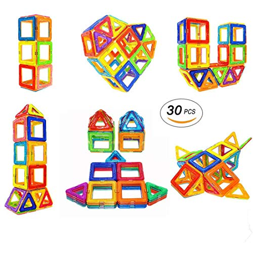 (Soyee Magnetic Blocks STEM Educational Toys for 3+ Year Old Boys and Girls Creative Construction Fun Magnetic Tiles Kit Gifts for Toddlers - 30pcs Starter Set)