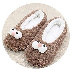 Novelty Fun Cartoon Cotton Slippers Women Indoor Soft Plush Slippers Christmas Slippers One Size Khaki 6