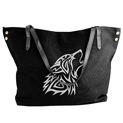 Shoulder Messenger Handbag Bags Tote Black Wolf Women's Large Howl Canvas Tribal Zqnxna6w