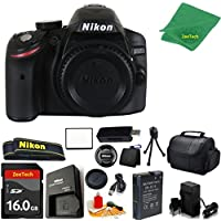 Nikon D3200 DSLR Camera Body + 16 GB Memory Card + Case + Reader + 6PC Starter set + Microfiber Cloth + Extra Charger - International Model