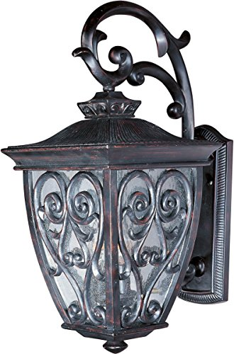 - Maxim 40123CDOB Newbury VX 2-Light Outdoor Wall Lantern, Oriental Bronze Finish, Seedy Glass, CA Incandescent Incandescent Bulb , 100W Max., Dry Safety Rating, Standard Dimmable, Fabric Shade Material, 4600 Rated Lumens