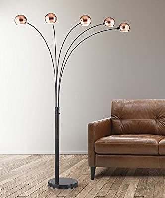 HomeTREND Orbs 5 Light Arc Floor Lamp, Arch Lamp, Modern Floor Lamp, Dimmer Switch, Bulbs Included