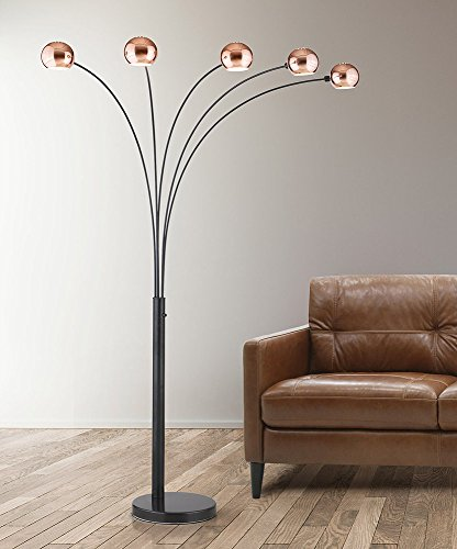 HomeTREND Orbs 5 Light Arc Floor Lamp, Arch Lamp, Modern Floor Lamp, Dimmer Switch, Bulbs Included (Mirrored (Arc Contemporary Floor Lamp)