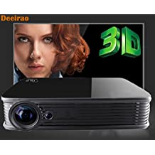 Deeirao Android5.1 DLP Home Theater Projector Mini Portable Build in Wifi 1280*800 Native Resolution Support 4K UHD 2160P Quad Core 2d Convert to 3d Bluray 3d Usb Hdmi Bluetooth4.0 LED Lamp Black (DLP 4K projector GT918)
