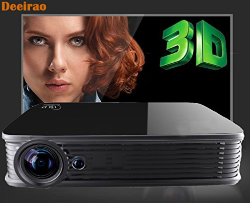 Deeirao Smart Android5.1 Dual Band Wifi DLP Home Theater Projector Mini Portable Support 4K 2160P 2D Convert To 3D Bluetooth4.0 Black by Deeirao