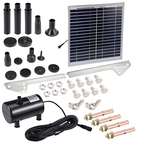 uxcell® Solar Water Pump Kit 15W 3M/9.8ft Wire Length with 7 Sprinkler Heads,Submersible Solar Water Pump,Garden Fountain Pool Watering Pond Pump Pool Garden Patio Bird Bath with Separate Solar Panel