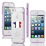 Apple iPhone 4 4s Ultra Thin Transparent Clear Hard TPU Case Cover France French Flag (Purple)