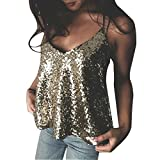 Women Sequin Tops Spaghetti Strap V Neck Sparkle Sequin Glitter Bling Tank Tops Vest Shirt Party Clubwea
