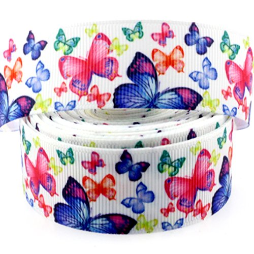 Midi Ribbon 10 Yards 1 Inch Pretty Butterfly Print Grosgrain Ribbon For Hair Bow Hair Clip Accessories Collar DIY Supplies (Butterfly Grosgrain Ribbon)