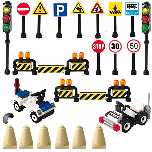 (148 Piece Construction Street Signs Playset ,Traffic Signs Building Blocks Education Toys for Kids Gifts Compatible with All Major Brands)