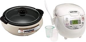 Zojirushi EP-PBC10 Gourmet d'Expert Electric Skillet & Neuro Fuzzy Rice Cooker, 5.5-Cup, Premium White
