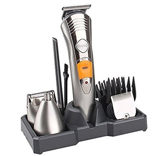 OFTEN (TM) Mens 7 in 1 Rechargeable Cordless Grooming Kit with Hair Clippers, Moustache Beards Shaver Trimmer, Nose Hair and Eyebow Trimmers