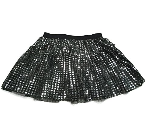 Rush Dance Sparkle Sequin Running Skirt Race Costume Glitter Ballet Tutu 5K (S/M, - Running Black Skirt
