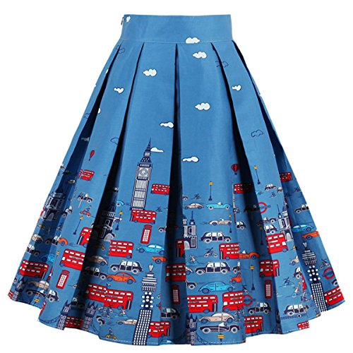 Dressever Women's Vintage A-line Printed Pleated Flared Midi Skirts Cars X-Large