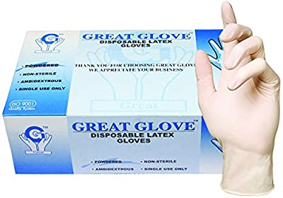 GREAT GLOVE Food Safe Industrial Grade Glove, Latex, 4.5 mil - 5 mil, Lightly Powdered, Smooth Rubber Latex