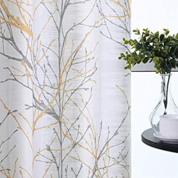 Semi-Sheer Print Curtains 84-inch Long Living Room Yellow Grey Curtain Panels with White Linen Textured Grommet Tree Branches Window Treatment Set for Living Room Bedroom 50