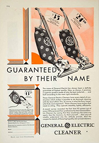 1929 Ad General Electric GE Vacuum Cleaner Household Appliance Juniorette YGH1 - Original Print Ad from PeriodPaper LLC-Collectible Original Print Archive