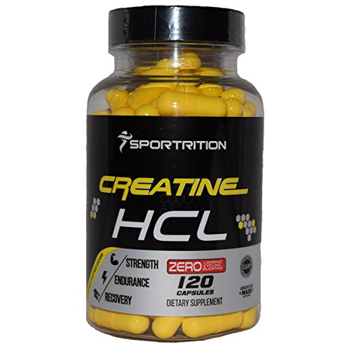 CREATINE HCL 750 mg, 120-Count CREATINE HYDROCHLORIDE CAPSULES with BIOPERINE 750mg , pre workout by Sportrition