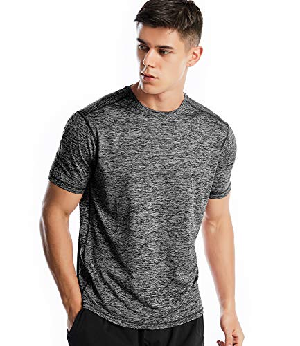 (Men's Dri Fit Workout Short Sleeve T Shirt Athletic Performance Shirts for Men(Marled Charcoal, S))