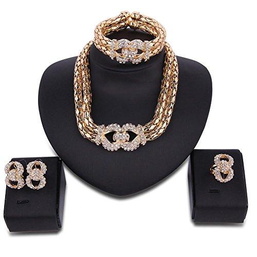 Accessoires Hochzeit Ring Gold legierung 18k Frau Vier Der Sätze Mode  Ohrringe Damen Schmuck Für Gyman ... 208bbc4710