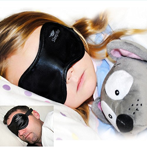 Side Sleeper Black Satin sommeil plus Masque pour les yeux avec mousse à mémoire bouchons d'oreille: Convient Hommes Femmes Garçons et Filles-Une idée cadeau unique pour les familles qui voyagent-adultes et les adolescents sur des quarts de travail-Yoga e