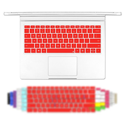 Masino Silicone Keyboard Cover Ultra Thin Keyboard Skin for Microsoft Surface Book (Silicon Keyboard Skin-Red)
