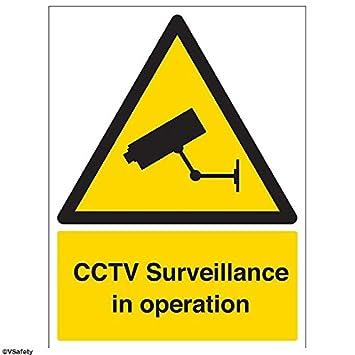 vinile autoadesivo colore: nero//giallo 150/mm x 200/mm vsafety 6e009an-ssegnale di avvertenza di sicurezza di sorveglianza CCTV in funzionamento verticale