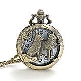 ALPS Skeleton Wild Wolf Open Face Quartz Pocket Watch