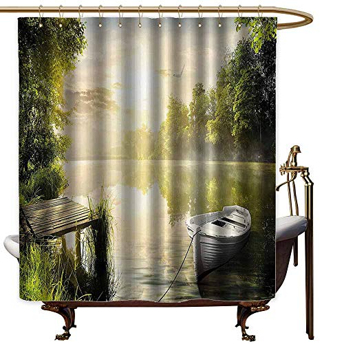 Godves Womens Shower Curtain,Nature Boat by The Foggy Lake Deck Dreamy Forest in The Morning Country Style Image,Shower Curtain with Hooks,W72x84L,Olive Green White