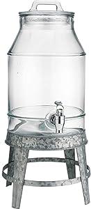 Classic Beverage Drink Dispenser Hammerd Durable Glass on galvanized Stand 3 Gallon with Spigot
