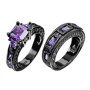 JunXin European Style Purple Amethyst Two Pieces Black Couple Rings for Women Mens(Women Sz5-10,Men Sz5-12)