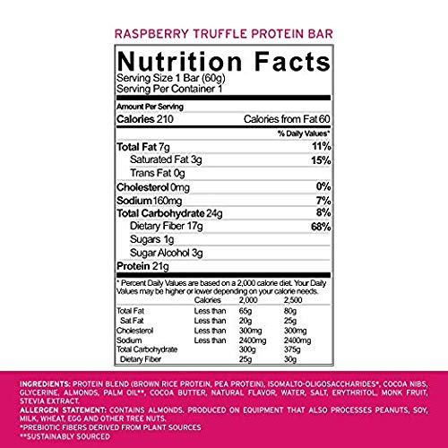 No Cow Protein Bar, Raspberry Truffle, 21g Plant Based Protein, Low Sugar, Dairy Free, Gluten Free, Vegan, High Fiber, Non-GMO, 24 Count