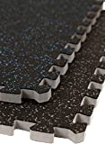 IncStores - 3/4'' Soft Rubber Interlocking Gym Tiles (Blue Fleck, 10 Tiles) - Perfect mats for home gyms, Insanity, P90X, aerobic, cardio, and plyometric workouts