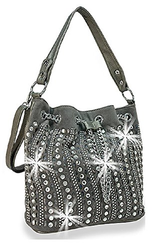 HX Chain Accented Drawstring Hobo Laser Cut Rhinestone Purse Pewter