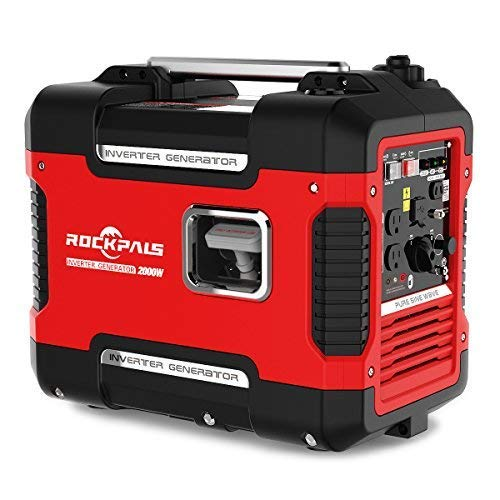 - Rockpals 2000-Watt Super Quiet Inverter Generator, 9 Hours Time Portable Camping Gas Power Generator, CARB Compliant With Eco-Mode, Parallel Ready, Dual 120V AC Outlet, 2 USB Ports, 12V DC Output