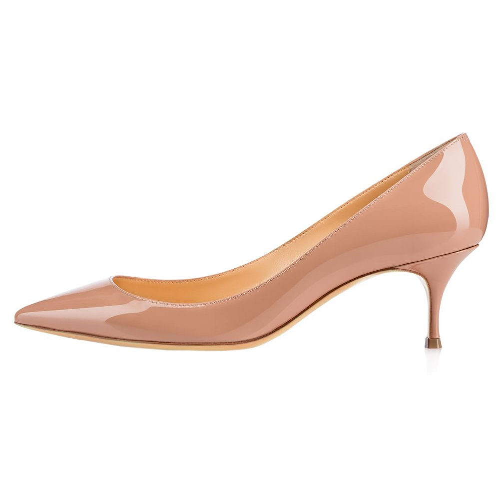 June in Love Women's Nude Low Heels Shoes Pointy Toe Daily Pumps Nude 7.5 US