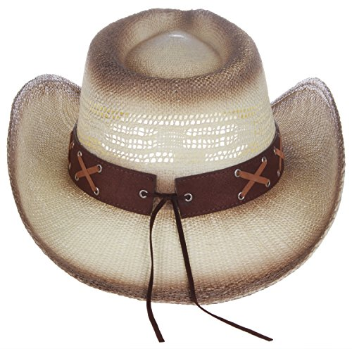 622527b982ff5 Enimay Western Outback Cowboy Hat Men s Women s Style Straw Felt Canvas  Bead Blue One Size by