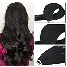 Vario Tape-In Human Hair Extensions 20Inch #1 Jet Black 50g/20PCS Silky Straight Skin Weft Human Remy Hair 22 Colors