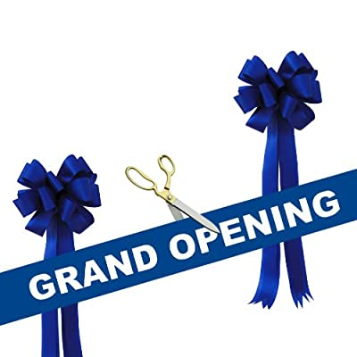 "Grand Opening Kit - 10 1/2"" Gold Plated Handles Ceremonial Ribbon Cutting Scissors with 5 Yards of 6"" Grand Opening Ribbon White Letters and 2 Bows"