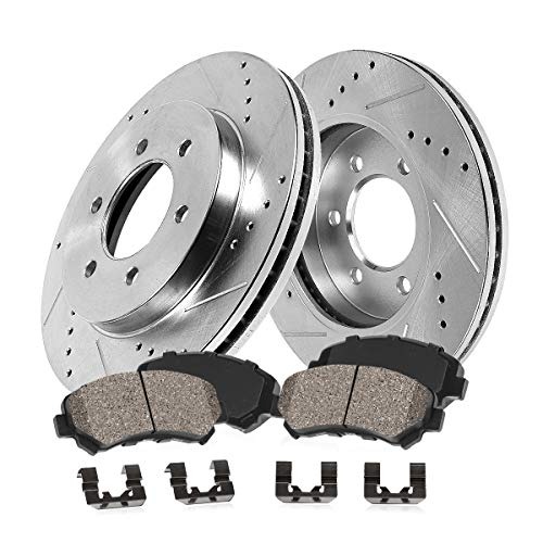 Callahan CDS02461 FRONT 287mm D/S 6 Lug [4] Rotors + Ceramic Brake Pads + Clips [for 2000-2002 Dodge Durango Dakota]